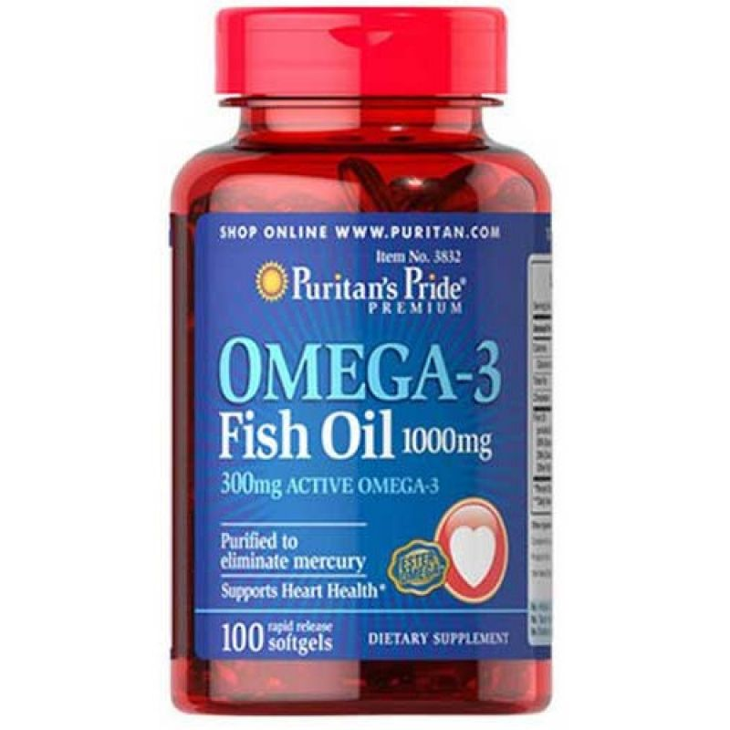 "Omega 3 Fish Oil ""Puritan's Pride"" (100caps/1000mg)"